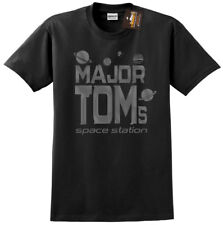 Major Tom's Space Station Mens Black T-Shirt Tee Music David Bowie Inspired
