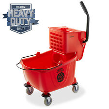 26 Quart Commercial Mop Bucket With Side Press Wringer Red