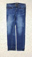 Express Women's Modern Boyfriend Low Rise Dark Distressed Wash Blue Jeans Size 0