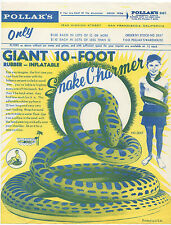 1960s Advertising Flier for the Giant 10 Foot Rubber Inflatable Snake