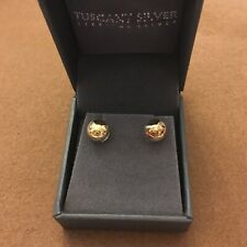 Tuscany Silver Sterling Silver Yellow Gold Plated Earrings Stud 8mm ball Gift