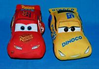 Set of 2 Disney Cars TY Sparkle Beanie Babies Plush Lightning Mcqueen Red Yellow