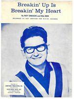 1965 ROY ORBISON Sheet Music BREAKIN' UP IS BREAKIN' MY HEART
