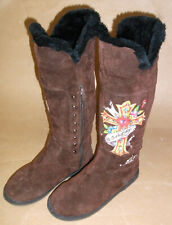 DON ED HARDY WOMENS 8 BROWN SUEDE BOOTS CHRISTIAN JESUS JEWELED CROSS ZIPPERED