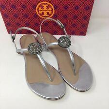 TORY BURCH Liana Flat Leather Sandals - Silver- UK 5/US 7.5