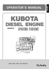 KUBOTA DIESEL ENGINE D1005 D1105 D1305 D1505 OPERATORS MANUAL REPRINT COMB BOUND