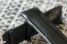 leather watch band 4 your Chronograph 24mm wide black padded and stitched calf