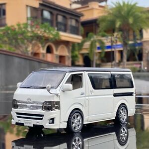 1:32 For Toyota Hiace Van Model Car Diecast Toy Sound Light White Kids Gifts Toy