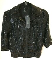 Ark & Co Sequined Jacket Ruffle Collar Hooded Zip Front Womens Size L NWT