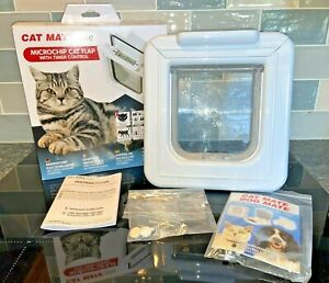 CAT MATE Elite Microchip Cat Flap, Timer Control, White, for Chipped Cats - NEW