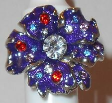 Ring, Stretch, Epoxy, Glass Rhinestone, SFPewter, Multi-Color, Flower, Cocktail