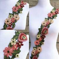 1 Yard Boho Flower Leaves DIY Lace Trim Ribbon Applique Embroidered Sewing Craft