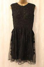 ASOS Black Full Heavy Embellished Mesh Skirt Skater Party Occasion Dress 10 38