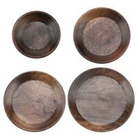 Wooden Fruit Tray Round Food Coffee Tray Tea Desert Cake Serving Tray Plate