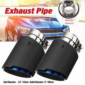 2x 2.5'' 63mm-101mm Glossy Carbon Fiber Car Exhaust Trim Tip Pipe Muffler End AU