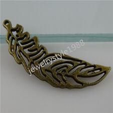 12212 20PCS Vintage Antique Style Bronze Tone Hollow Feather Pendant