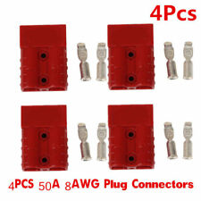 4pcs 50A 8AWG Plug Battery Quick Connector Electric Plug Winch Trailer Red Color