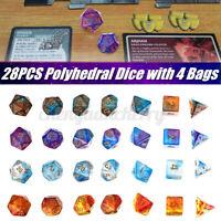 7 Set 28Pcs Acrylic Dice Polyhedral for TRPG DND RPG MTG Playing Game D4-D20 QZ