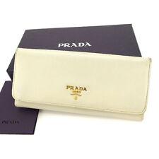 Prada Wallet Purse Long Wallet Logo Beige Gold Woman Authentic Used L510