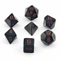 Chessex Dice: Polyhedral 7-Die Opaque Dice Set - Black with Red
