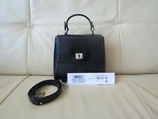 Hugo Boss Bespoke Shiny Cocco Print Black Leather Shoulder Bag
