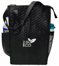 Insulated Lunch Tote Bag Wine and Water Bottle Carrier Tall Thermal Cooler Black