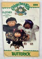 Butterick 6984 347 Cabbage Patch Kids Pattern Faux Fur Coats Doll Clothing Uncut