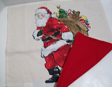 Pottery Barn Christmas Holiday Painted Santa Bag Toys Sofa Toss Pillow Cover 20""