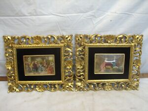 Pr Vintage Ornate Victorian Framed Painting on Porcelain Italy