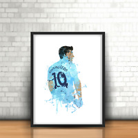 Sergio Aguero - Manchester City Inspired Football Art Print Man City Number 10
