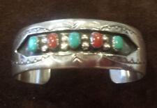 Vintage Navajo Turquoise & Coral Silver cuff Bracelet