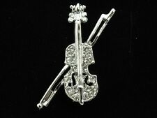2pc Quality Violin Music instrument Austrian crystal silver plate Brooch pin D21