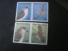 PAPUA NEW GUINEA, SCOTT # 620-623(2 prs),1985 INDIGENOUS BIRDS OF PREY ISSUE MNH
