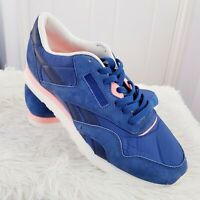 Reebok Blue Classic Suede Nylon Retro Trainers. Size UK 9 EUR 43 Lace Up
