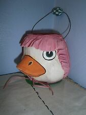 EASTER VINTAGE CANDY CONTAINER PAPER MACHE Duck Head Wire Handle