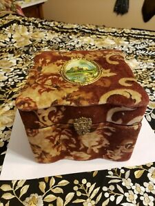 Antique velvet and celluloid vanity box