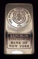 "RARE JOHNSON MATTHEY ""REPUBLIC NATIONAL BANK OF N.Y."" 10 OUNCE .999 SILVER BAR"