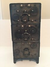 Brown Metal Decorative 3 Drawer Table Top Storage Chest