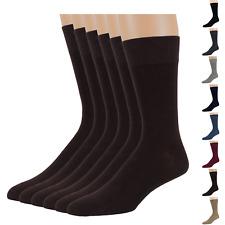 Men's Bamboo 6 Pack Dress Solid Socks XL-L-M Black Tan Navy Brown Beige Grey Red