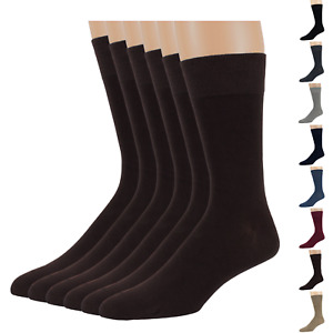 Men's Bamboo 6 Pack Dress Solid Socks XL-L-M Black Tan Navy Brown Beige Grey Red