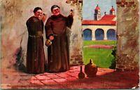 Vtg Postcard 1907 Artist SIgned R.A. DAVENPORT - Good Cheer Drinking Monks