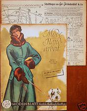 Gejo Modenblatt Nr. 11 / 1949 mit 2 Schnittbogen Modezeitschrift