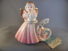 Vintage Josef Originals 6 Year Birthday Angel Bisque Figurine Pink W/ Paper Tag