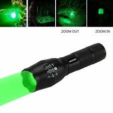 Adjustable Focus Hunting Flashlight Tactical LED Green Light Hunt Torch Recharge