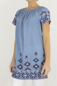 Tu @ Sainsburys Womens Blue Bardot Shapes Short Sleeve Tunic Top Size 16