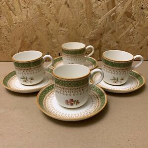 4 x Vintage 1931 Royal Worcester Demitasse Coffee Cups & Saucers - Green & Yello