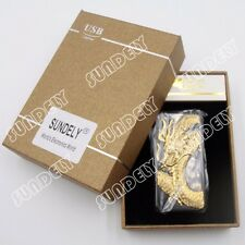 Plasma Arc Lighter USB Rechargeable Windproof Flameless Modern Gift Gold Dragon