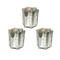 Set of 3 Silver Star Shaped Glass Tea Light Holder Home decoration Party Gift
