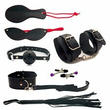 High Quality-Black Fur Bondage-Set Kit-collar-ballgag-blindfold-whip-fetish-sexy