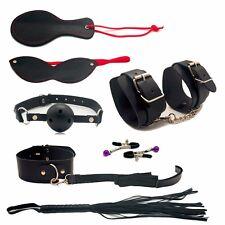 //48/High Quality-Black Fur Bondage-Set Kit-collar-ballgag-blindfold-whip-fetish